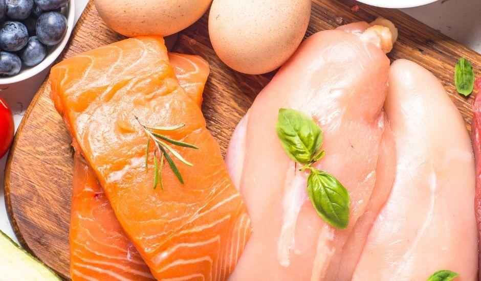 Lachs, Hühnerbrust und Ei